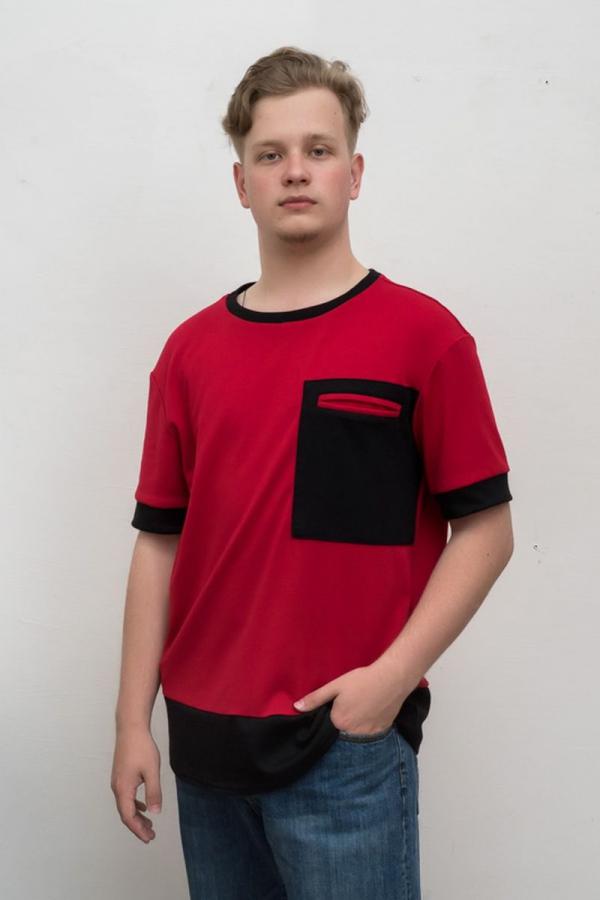 Мужская хлопковая футболка. Цвет красный. Размеры 40-64. Ткань: трикотаж
