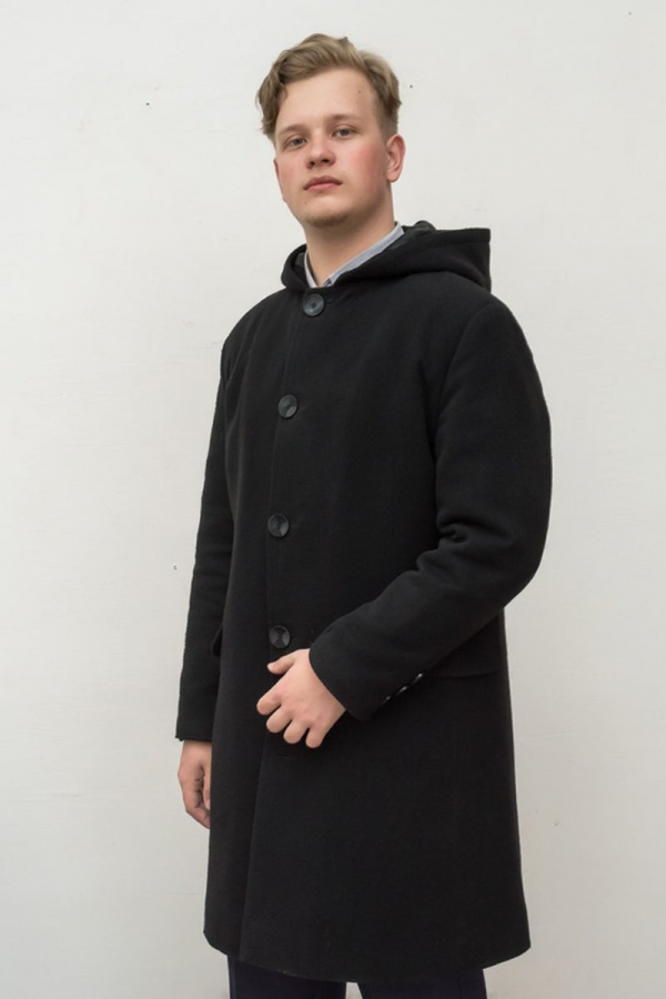Классическое мужское пальто с капюшоном. Цвет чёрный. Размеры 40-64. Ткань: драп