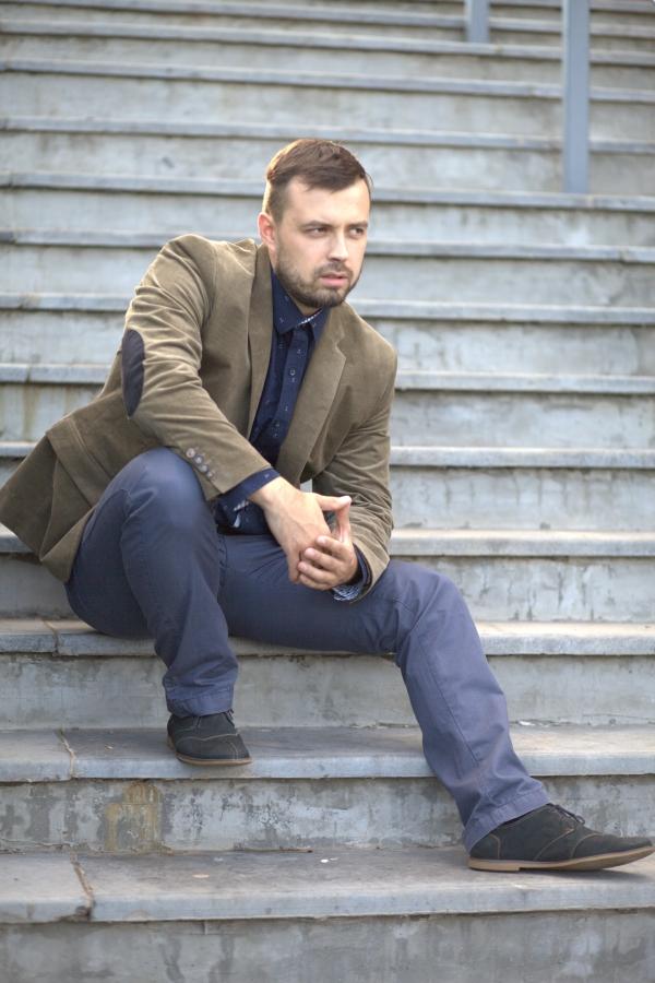 Классический мужской пиджак. Ткань: 70% хлопок, 30% вискоза