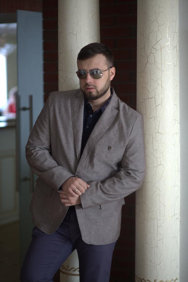 Классический мужской пиджак. Ткань: лён