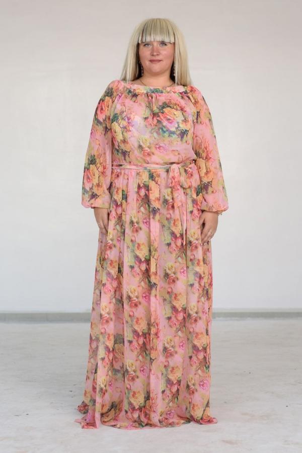 Платье в пол с закругленной горловиной, без рукавов из воздушного шифона. Размер: 42-56. Цвета: оранжевый, розовый, зеленый, красный, синий