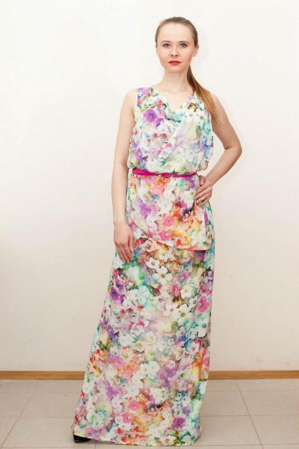 Платье в пол с закругленной горловиной, без рукавов из воздушного шифона. Пояс в комплект не входит. Размер: 42-50. Цвета: мультиколор