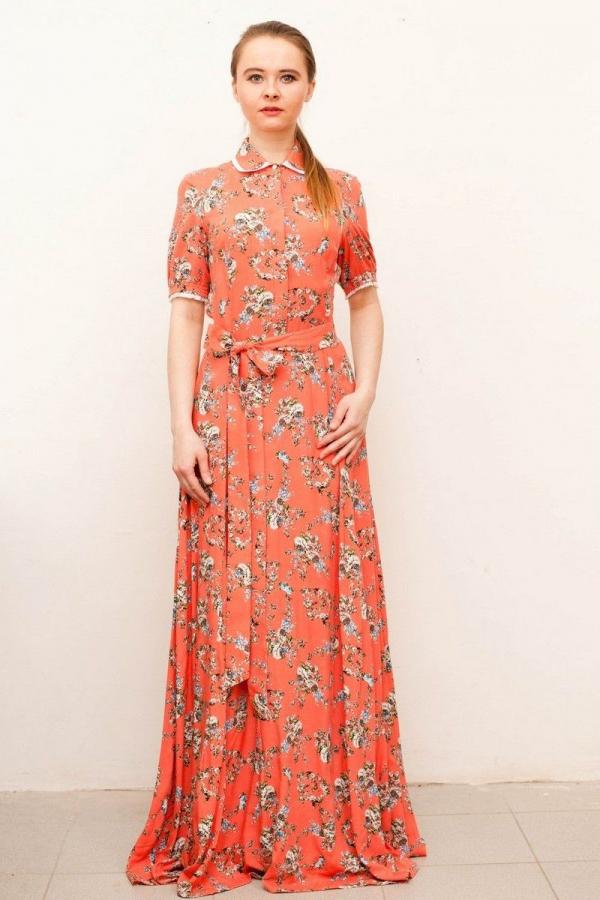 Платье в пол с воротником и супатной застёжкой из натурального штапеля. Размер: 42-52. Цвета: коралловый, розовый, белый, красный, чёрный