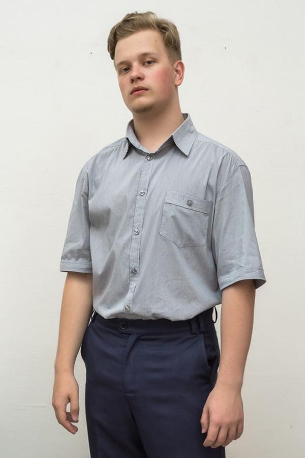 Классическая мужская рубашка. Цвет: серый. Размеры 40-64. Ткань: лён
