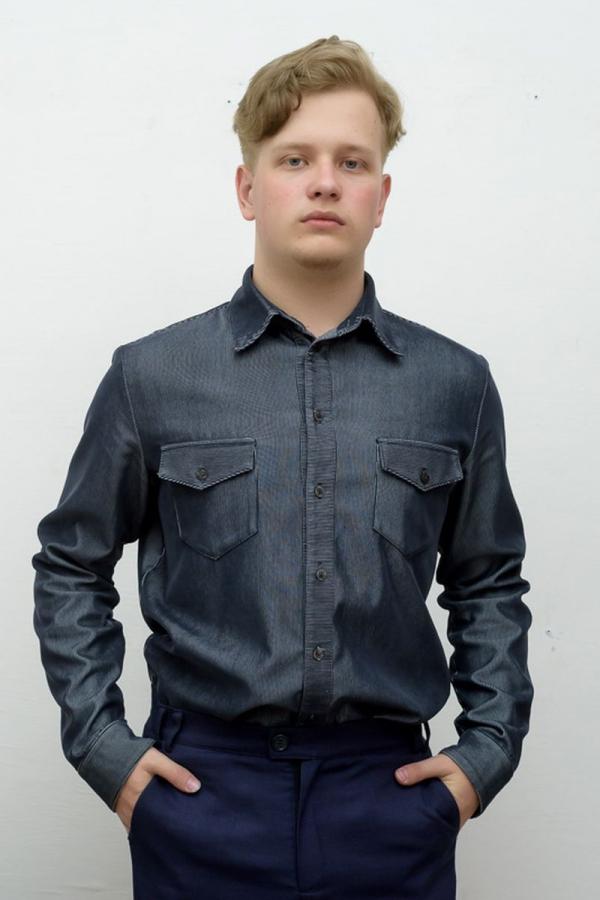 Классическая мужская рубашка. Цвет: серый. Размеры 40-64. Ткань: хлопок