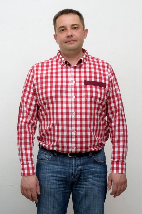 Классическая мужская рубашка. Цвет: красный. Размеры 40-64. Ткань: хлопок